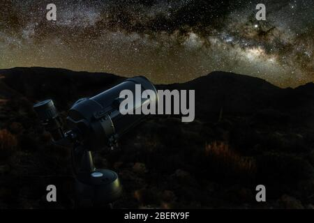 Starry sky above a telescope. Mountains, surrouded by pine tree forest in the background night landscape with colorful Milky Way Galaxy, stars, planet - Stock Photo