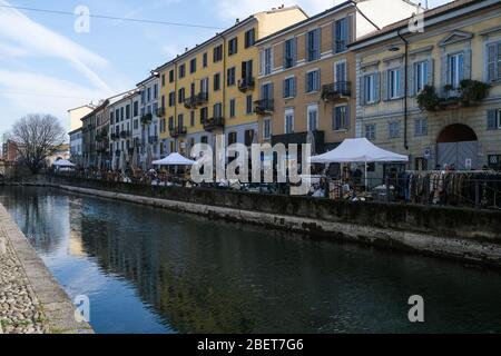 Italy, Milan- 20 February 2020: the Naviglio Grande, canal in  Lombardy northern Italy, connecting the the Ticino river near Tornavento to the Porta T Stock Photo