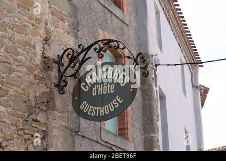 Chambre d'hotes means guesthouse in sign street road on building - Stock Photo
