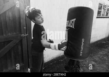 A young boy wearing boxing gloves punch a punching bag in the garden for exercise. - Stock Photo