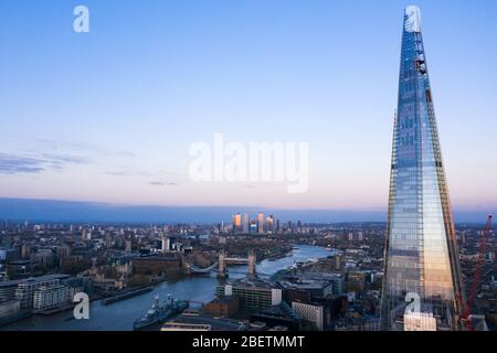London Shard Aerial view of Town house and London Bridge