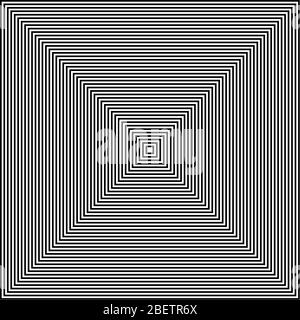 Black and white lines abstract square optical art Stock Photo