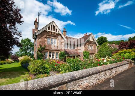 Houses in Ford Village on the Ford and Etal estate in Northumberland - Stock Photo