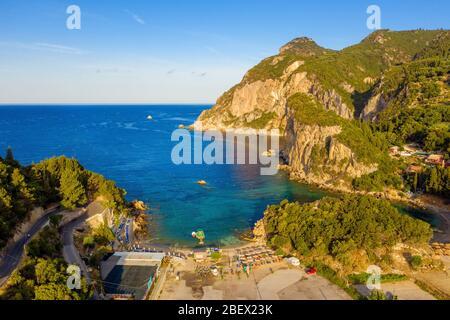 Aerial of beautiful beach in Greece. View on a mediterranean sea in Paleokastritsa, Corfu. - Stock Photo