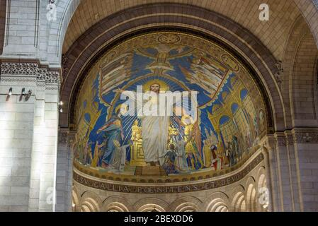 Interior details of the Roman Catholic church and minor basilica Sacre  Coeur in Montmartre, a large medieval church on a hill in Paris, France. - Stock Photo