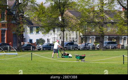 London, UK. 16th April 2020 A groundsman cuts grass on the cricket square on Twickenham Green during the coronavirus outbreak. Andrew Fosker / Alamy Live News - Stock Photo