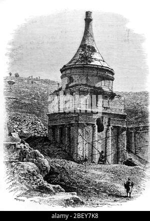 Tomb of Absalom, Absalom's Tomb or Absalom's Pillar, an Ancient Rock-Cut Tomb in Kidron Valley Jerusalem Israel. Vintage or Old Illustration or Engraving 1888 - Stock Photo