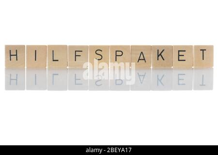 'Hilfspaket' Help Package, financial measures for states and economic areas that are in an emergency. Isolated on white background. Germany - Stock Photo