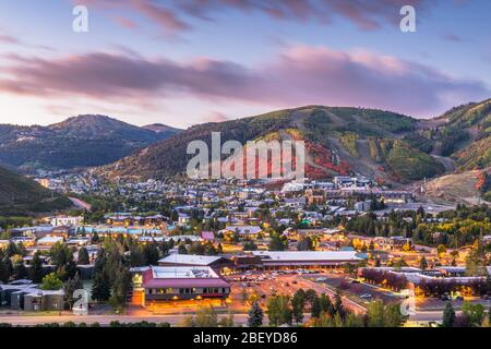 Park City, Utah, USA downtown in autumn at dusk. - Stock Photo