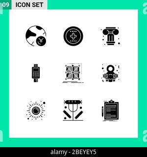 User Interface Pack of 9 Basic Solid Glyphs of credit card machine, check, ux, card, machine Editable Vector Design Elements - Stock Photo