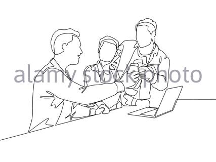 One continuous line drawing of multi level marketing or MLM upliner doing presentation with laptop to prospect downliner candidate. MLM business conce - Stock Photo