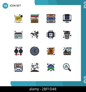 Universal Icon Symbols Group of 16 Modern Flat Color Filled Lines of imac, monitor, street, computer, furniture Editable Creative Vector Design Elemen