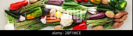 banner of many varied colored fresh vegetables for home delivery. advertising - Stock Photo
