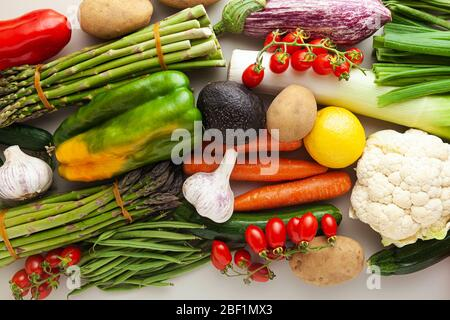 many varied colored fresh vegetables for home delivery. banner advertising - Stock Photo