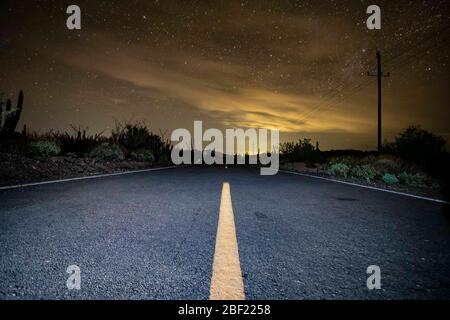 Highway, pavement line, ocotillo, sahuaro, pithaya and plants of the Sonoran desert in a starry night, Choyudo, Sonora, Mexico, Gulf of California, ecosystem. Gulf of California sea as part of the Pacific Ocean. (Photo: LuisGutierrez / NortePhoto.com).  Carretera, linea en el pavimento, desierto de Sonora en una noche de estrellas, Choyudo, Sonora, México, golfo de California, ecosistema. Mar del golfo de California como parte del Océano Pacífico..   (Photo: LuisGutierrez / NortePhoto.com). - Stock Photo