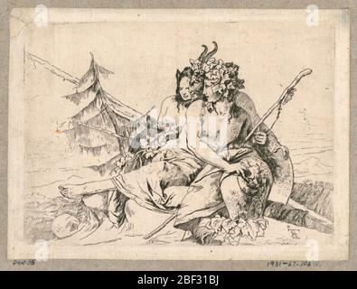 Copy of Bacchante Satyr and Female Faun from the series Scherzi di Fantasia. In the center, a compact group of a bacchante, a satyr and a female faun. They face left. The bacchante holds a thyrsus in her left hand and her right hand rests on a vase. In the background, trees. - Stock Photo