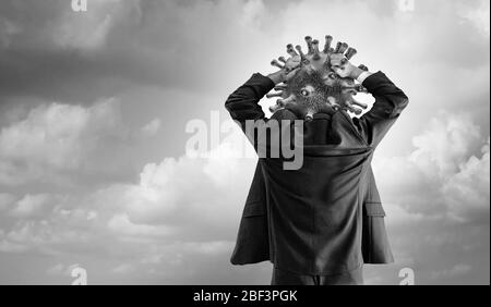 Hypochondriac concept Disease panic of outbreak anxiety and Hypochondria psychology or health fear of contagion or psychological anxiety of diseases. - Stock Photo