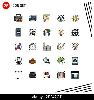 Stock Vector Icon Pack of 25 Line Signs and Symbols for nature, energy, help, bulb, degrees Editable Vector Design Elements - Stock Photo