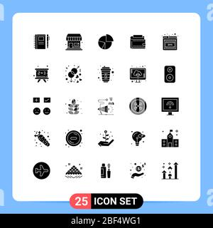 Editable Vector Line Pack of 25 Simple Solid Glyphs of finance, wallet, chart, statistics, graph Editable Vector Design Elements - Stock Photo