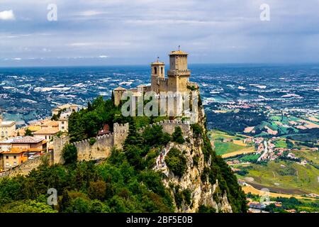 Republic San Marino Prima Torre Guaita first fortress tower with brick walls on Mount Titano stone rock.
