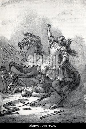 Antiquite romaine : la mort de l'empereur Julien l'apostat (Julien le Philosophe ou Julien II) lors de la bataille de Ctesiphon contre les armees sass - Stock Photo