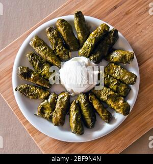 Dolmadakia (also known as 'dolmades'), traditional Greek food. They are stuffed leaves, usually vine/grape filled with rice and other ingredients.