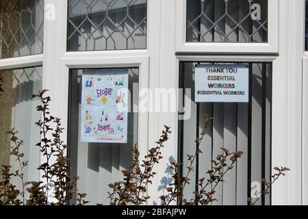 posters in a north london home thank essential workers and hope during corona virus lockdown lengland UK - Stock Photo