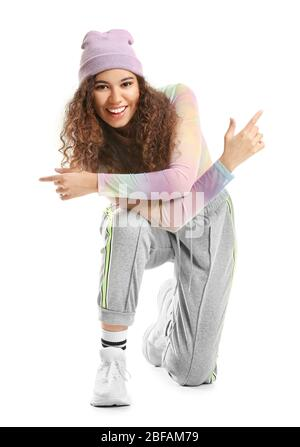 African-American hip-hop dancer on white background - Stock Photo