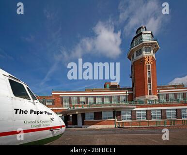 Speke Aerodrome building,Crowne Plaza Liverpool John Lennon Airport Hotel,Art Deco hotel building renovated airside with vintage aircraft,Speke,L24 8Q - Stock Photo