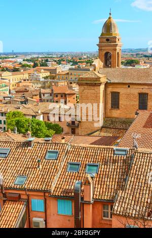 Tiled roofs of Santarcangelo di Romagna town in Emilia-Romagna, Italy