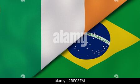 Two states flags of Ireland and Brazil. High quality business background. 3d illustration - Stock Photo