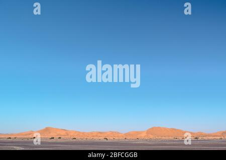 Sahara Desert Sand Dunes with Empty Blue Sky (Morocco)