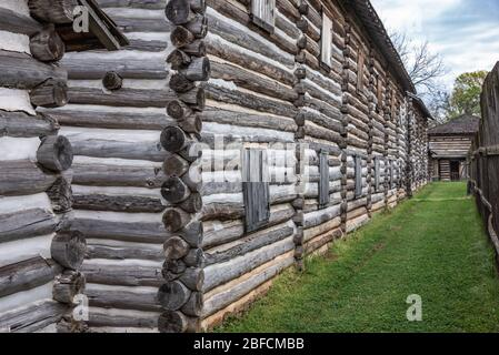 Stockade at Fort Gibson, a historic military site in Oklahoma that guarded the American frontier in Indian Territory from 1824 until 1888. - Stock Photo