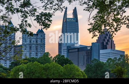 Midtown Atlanta, Georgia skyline at sunset from Piedmont Park. (USA) - Stock Photo