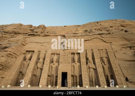 Small temple of Abu Simbel in Upper Egypt, on the shore of Lake Nasser. - Stock Photo