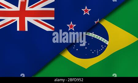 Two states flags of New Zealand and Brazil. High quality business background. 3d illustration - Stock Photo