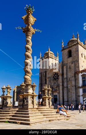 Porto, Portugal - 04 October 2016: The medieval pillory of Porto in Se Cathedral Square. - Stock Photo