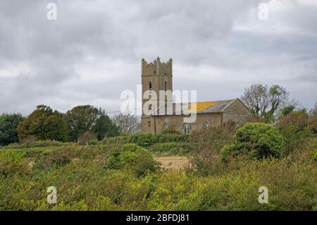 St Mary's church situated on Johns Hill above the estuary at Kieran's Quay in County Wexford on an overcast day in October.