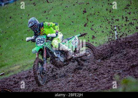 Winchester, Italy. 01st Mar, 2020. clement desalle (bel) team kawasaki factory racing during MXGP of Great Britain, Motocross in winchester, Italy, March 01 2020 Credit: Independent Photo Agency/Alamy Live News