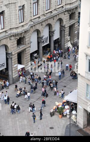 Around Italy - Milan Duomo - Looking down from the roof of the Duomo to the streets below - Stock Photo