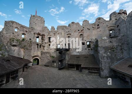 Castle ruins in Ogrodzieniec, Poland. Ogrodzieniec is one of the medieval castle on the Trail of the Eagles Nests - Stock Photo