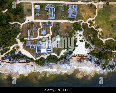 Aerial views of El Castillo and the Ruins of the Mayan temple grounds at Tulum, Quintana Roo, Yucatan, Mexico. Tulum is the site of a pre-Columbian Ma - Stock Photo