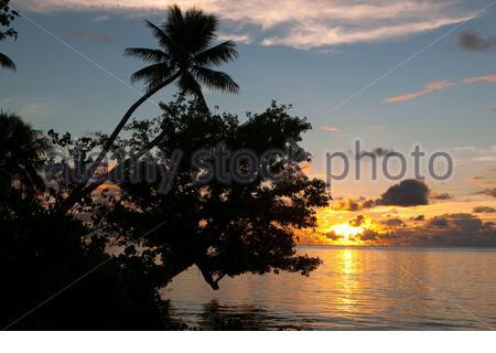 Sonnenuntergang in der Südsee, Pazifik, Yap, Insel Yap, Mikronesien, Pazifik, Südsee, Australien - Stock Photo