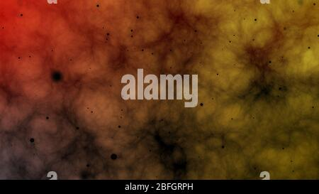 Fire and smoke animation with floating dust particles. Outer space background.  Cloudy sky and dark energy concept.