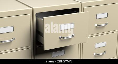 Office filing cabinets with open drawer closeup view. Document data archive storage and business administration concept. 3d illustration - Stock Photo