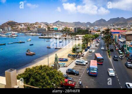 Mindelo/Cape Verde - August 9, 2018 - City streets and beach aerial view, Sao Vicente - Stock Photo