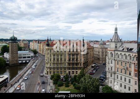 Beautiful view of the surrounding cityscape from the top floor terrace of Dancing House, Prague, Czech Republic