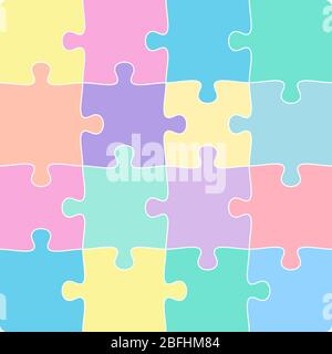 colorful 4x4 jigsaw puzzle template isolated on white vector illustration - Stock Photo