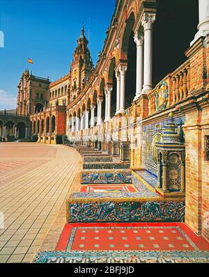 Plaza de Espana, elevated view, Seville, Andalusia, Spain, Europe