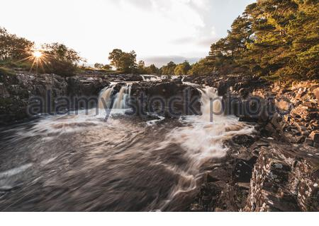 Low Force Waterfall in Teesdale, on the upper reaches of the River Tees don from High Force - Stock Photo